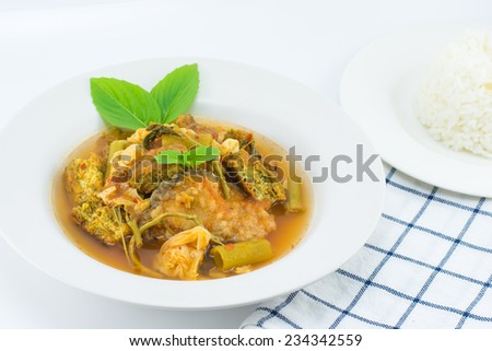 curry with rice,thai food. - stock photo