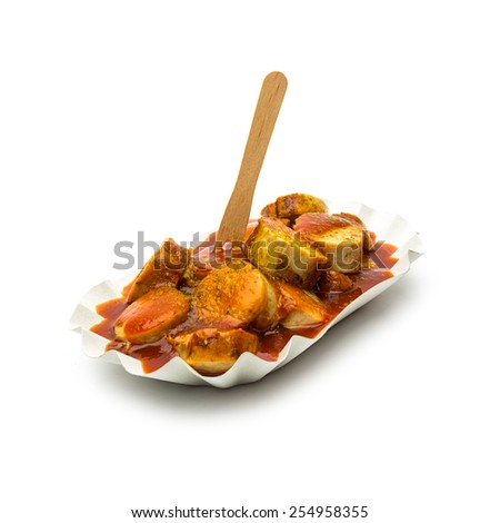 currywurst with curry sauce in a shell isolated on white background - stock photo