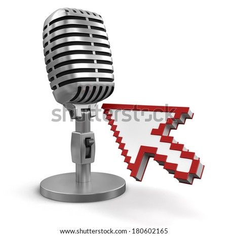 Cursor and Microphone (clipping path included) - stock photo