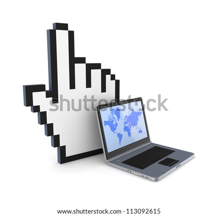 Cursor and notebook.Isolated on white background.3d rendered.