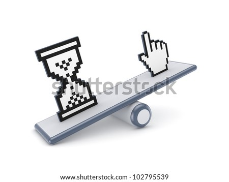 Cursor and sand glass icons on a scales.Isolated on white background.3d rendered. - stock photo