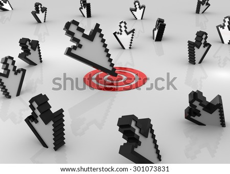 Cursor and target , This is a computer generated and 3d rendered picture. - stock photo