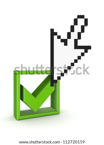 Cursor and tick mark.Isolated on white background.3d rendered. - stock photo