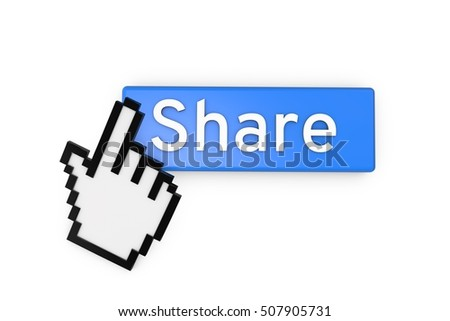 Cursor clicking on a blue share button. 3D rendering