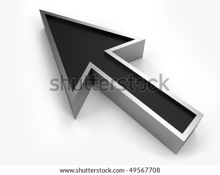 cursor 3d chrome and black - stock photo