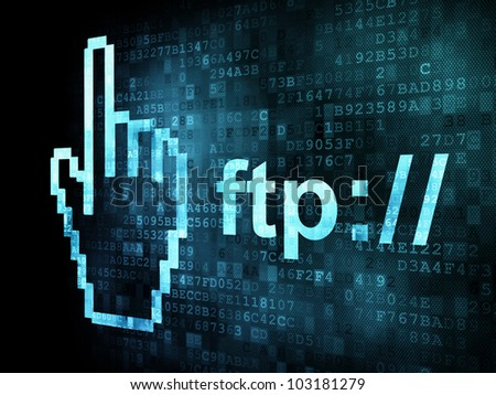 Cursor+ftp on digital screen, 3d render