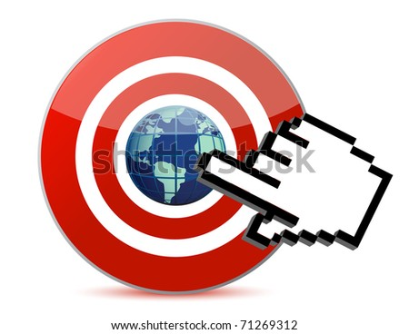 cursor hand clicks on search engine marketing SEM world - stock photo