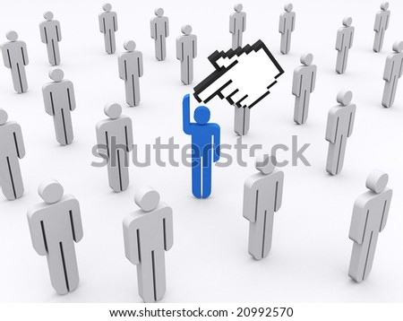 Cursor hand is pointing on a stick man. Concept of uniqueness, standing out,.. - stock photo