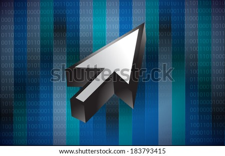 cursor illustration design over a binary background