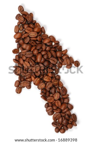 Cursor made with coffee beans - stock photo