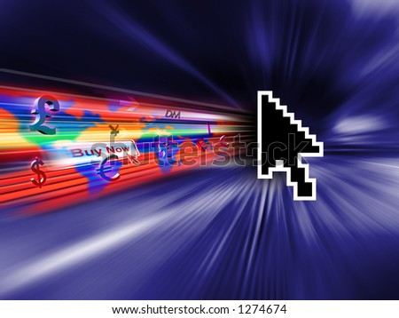 Cursor on the internet - stock photo