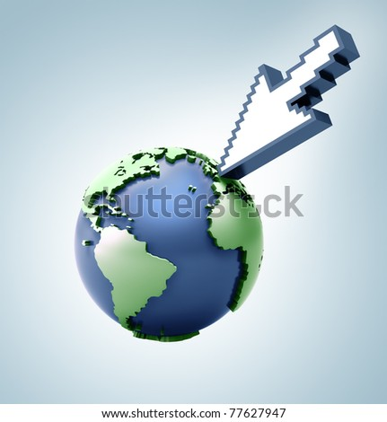 Cursor pointing in the world. Concept of technology and communication using means of the computer. - stock photo