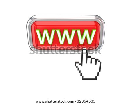 Cursor pushing red WWW button. 3d rendered. Isolated on white background.