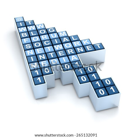 Cursor with words related to Internet and social media, 3d render - stock photo