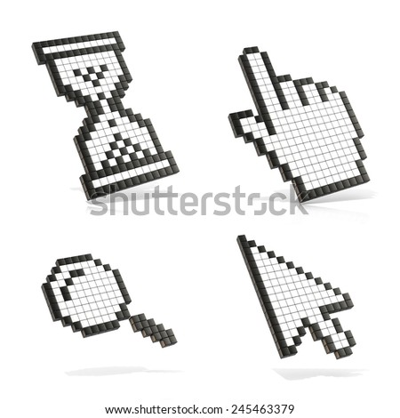 Cursors set. 3D render illustration isolated on white background.