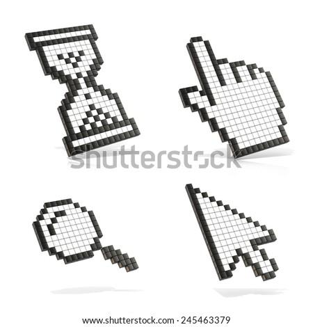 Cursors set. 3D render illustration isolated on white background. - stock photo