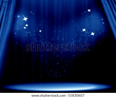 Curtain background with spotlights and bright glitters - stock photo