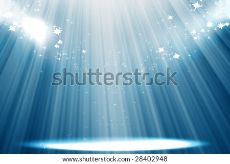Curtain background with spotlights and glitters - stock photo