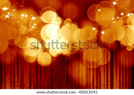 Curtain background with spotlights and glitters on it - stock photo