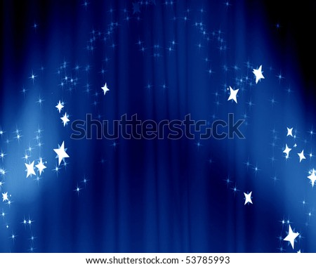 Curtain background with spotlights and some glitters - stock photo