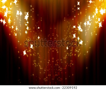 Curtain background with spotlights and some glitters on it - stock photo