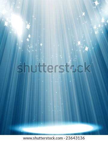 Curtain background with spotlights and sparkles - stock photo