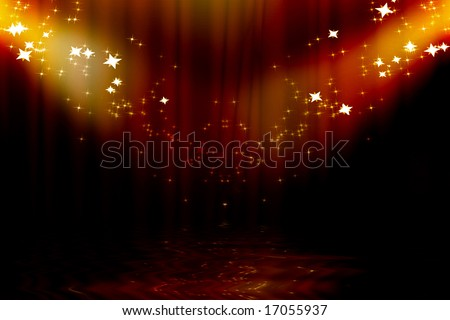 Curtain background with spotlights and sparkles on it - stock photo
