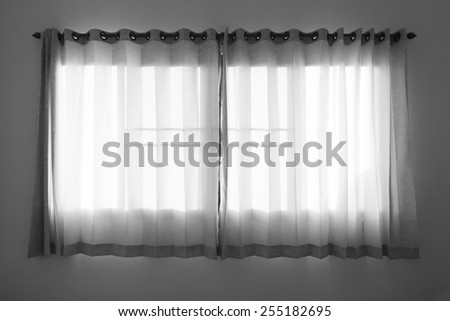 curtain for window in black and white tone - stock photo
