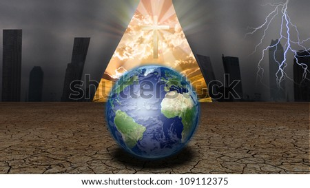 CUrtain of Dystopic world opens to reveal a shinning cross and other world - stock photo