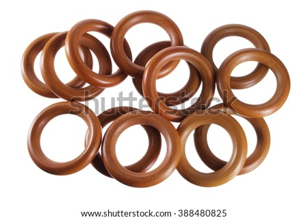 Curtain Rings on White Background - stock photo