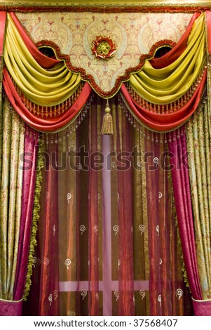 curtain with an ornament in the modern house - stock photo