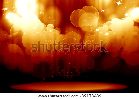 Curtain with spotlights on a red background - stock photo