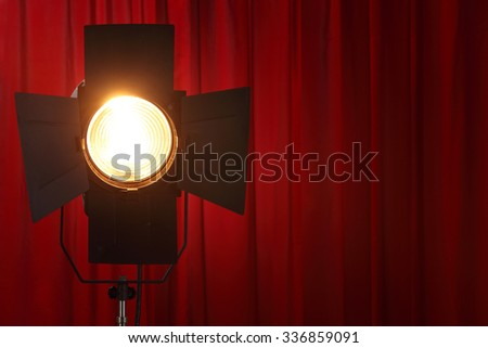 Curtains and spotted lights wtih space for your text - stock photo