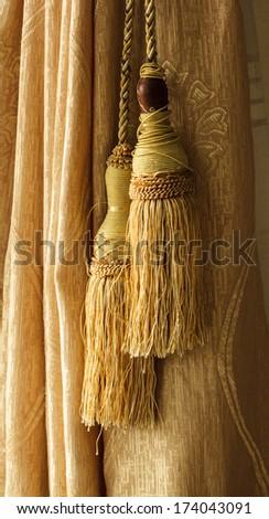 Curtains in classic interior - stock photo