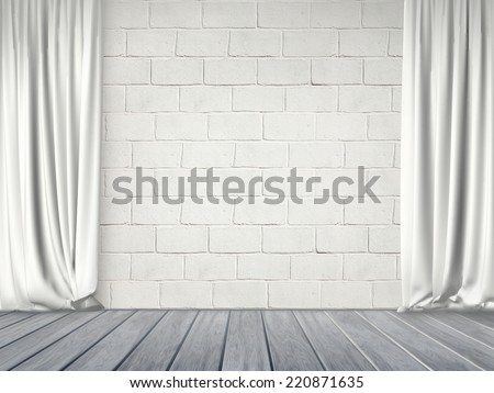 Curtains on an empty wall - stock photo