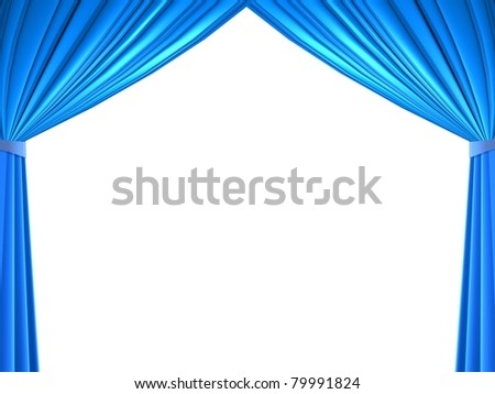 curtains white background isolated - stock photo