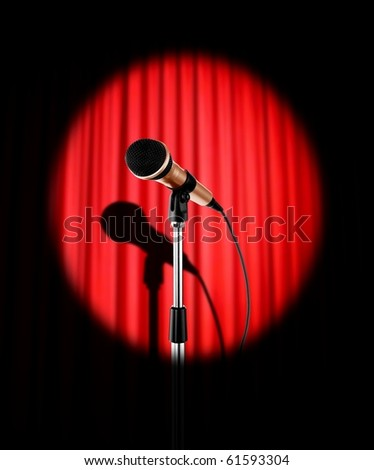 Curtains with microphone - stock photo