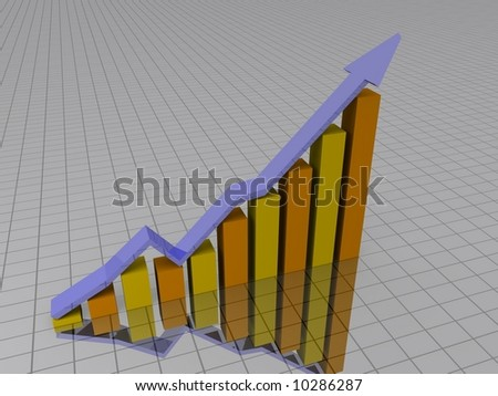 Curve above a bar chart - stock photo