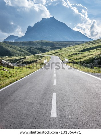 curve at the european alps - stock photo