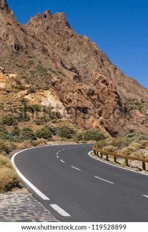 Curve in the road through National Park of Canadas del Teide, Tenerife, Canary Islands.