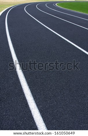 Curve of a Black Running Track
