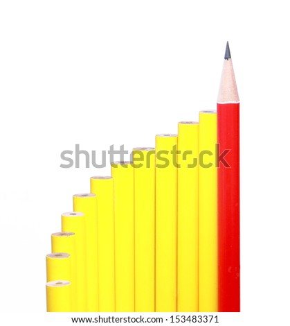 Curve of bar graph pencils meaning to success step  - stock photo
