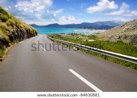 curve of road in mountain with Pollensa view in Mallorca balearic island