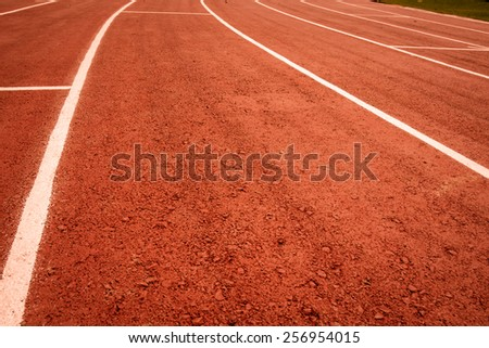 curve of running track. - stock photo