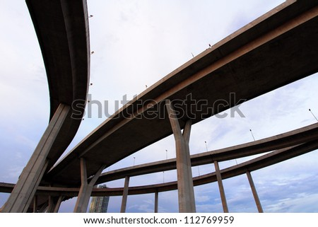 Curve of suspension bridge at Bangkok in Thailand - stock photo