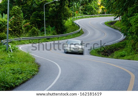 curve of the road - stock photo