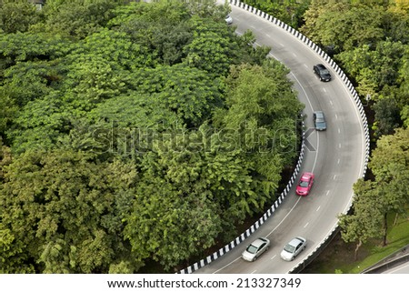 curve of the road top view - stock photo