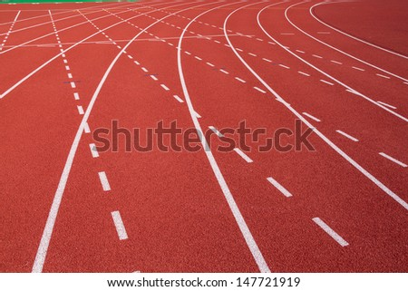 Curve on running track - stock photo