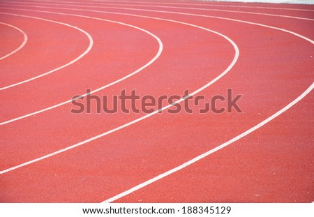 Curve on running track with rubber cover - stock photo