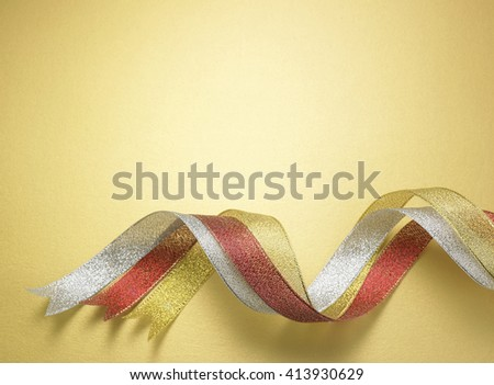 curve ribbon on the yellow background - stock photo